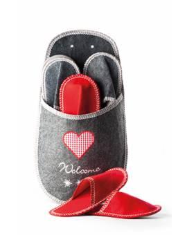 Set di Pantofole 4 Paia di Ciabatte Pattine in Feltro Unisex Grigio Rosso