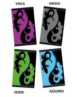Salviettone Mare Piscina Asciugamano Spugna di Cotone Bicolore Geko Idea Regalo