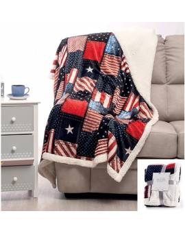 Coperta matrimoniale morbido PLAID Bandiere USA America tipo lana Merinos