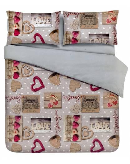 Parure Sacco Copripiumino Matrimoniale 2 piazze Love Cuori Shabby Stampa Digitale
