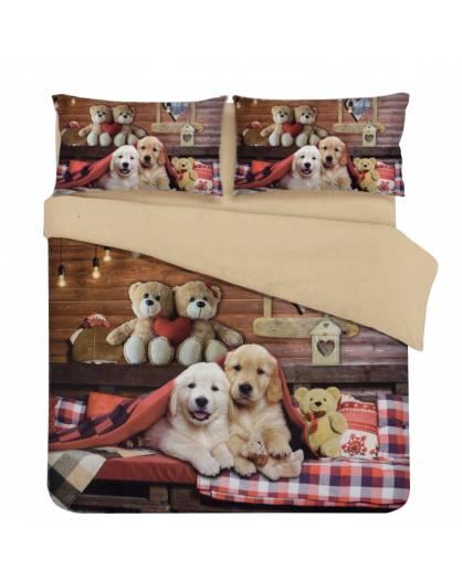Parure Sacco Copripiumino Matrimoniale Stampa Fotografica cani orsetti family