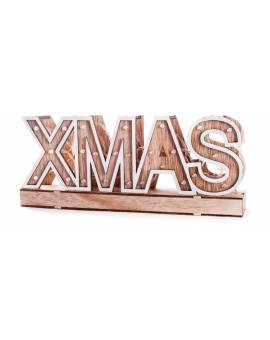 Scritta Luminosa a LED ChristMas Natale in Legno Arredo Casa Sopprammobile