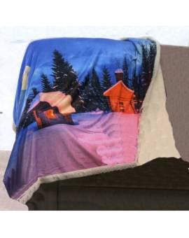 Plaid pile coperta tipo lana merinos stampa digitale paesaggio montagna neve