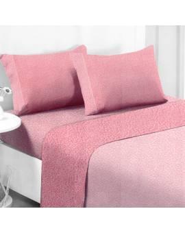 Completo Letto Piazza e Mezza in cotone Felpato Maculato Rosa