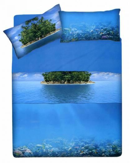 Parure Sacco Copripiumino Matrimoniale Seychelle Mare Stampa HD
