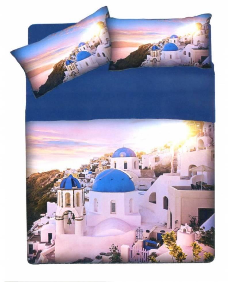 Parure Sacco Copripiumino Una Piazza Singolo Stampa Digitale città Santorini