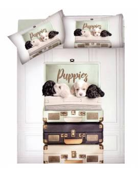 Parure Copripiumino Sacco Piumino Letto Matrimoniale Puppie Stampa Dig