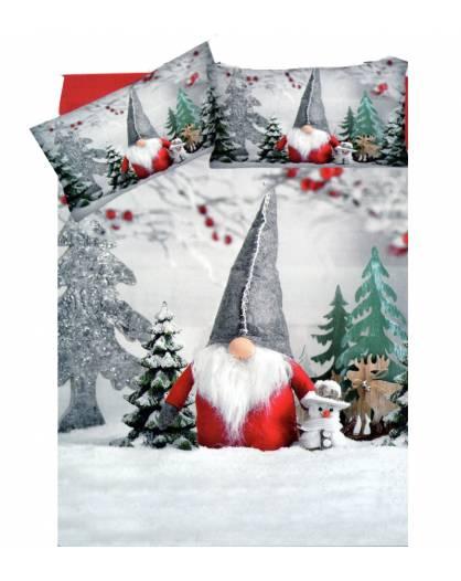 Parure Copripiumini sacco piumino letto due piazze cotone gnomo Natale