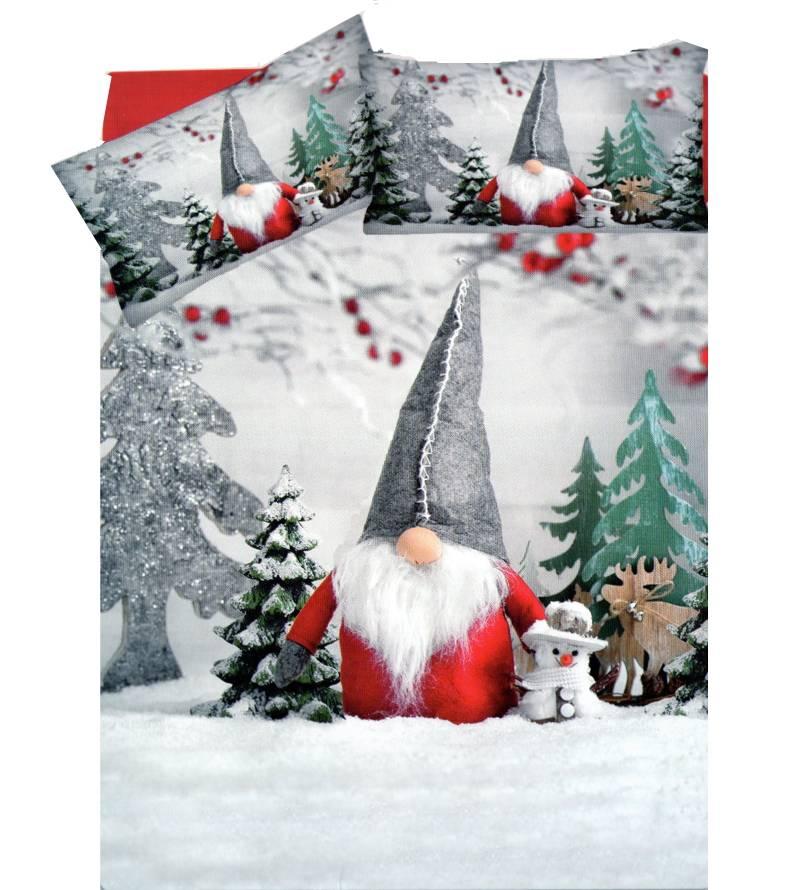 Parure Copripiumino Natale.Sacco Copripiumino Puro Cotone Letto Due Piazze Gnomo Natale