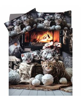 Parure Copripiumino Sacco Piumini Letto Matrimoniale Cotone Gatti Cats