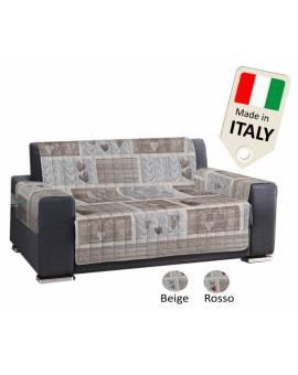 Copridivano Copripoltrona Trapuntato Made In Italy Stile Shabby Rosso