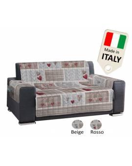 Copridivano Copripoltrona Trapuntato made in Italy stile shabby rosso o beige