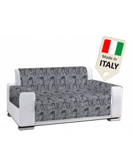 Copridivano Copripoltrona pop art people grigio scuro made in Italy antiscivolo