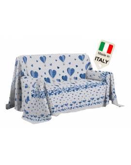 Copridivano Disegno Mongolfiera Con Cuori Shabby Made In Italy Telo Co