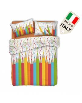 Copripiumino matitoni disegno spiritoso matrimoniale e singolo made in Italy
