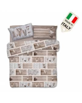 Copripiumino shabby con cuori sacco per piumino letto made in Italy in cotone
