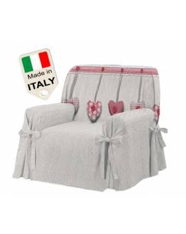 Copridivano Shabby copripoltrona cuori LOVE Made in Italy telo salva divano