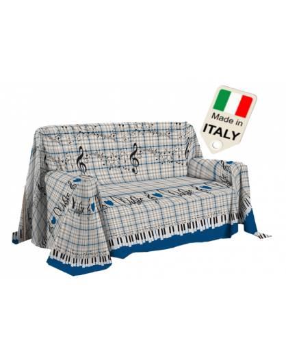 Copridivano telo arredo con note musicali gran foular Made in Italy