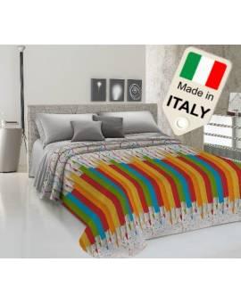 Copriletto estivo prodotto italiano disegno con matitoni offerta made in italy