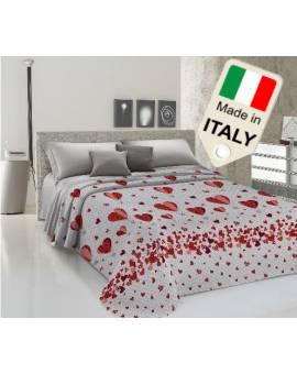Copriletto estivo prodotto italiano cotone piquet cuori e mongolfiera affare