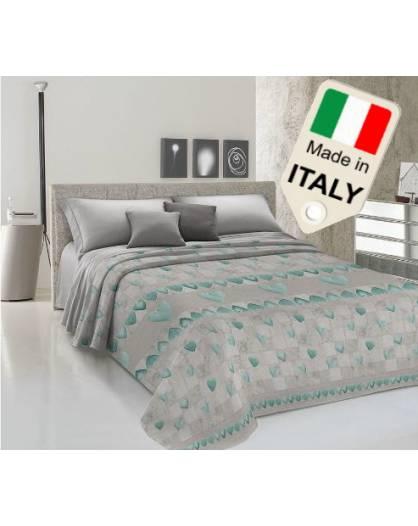 Copriletto estivo primaverile made in Italy shabby in love cuoricini in cotone