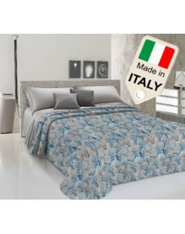 Copriletto cotone di piquet estivo primaverile disegno coralli marini Italiano
