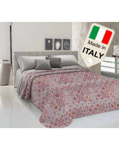 Copriletto estivo made in Italy con disegni vintage effetto piastrelle cotone