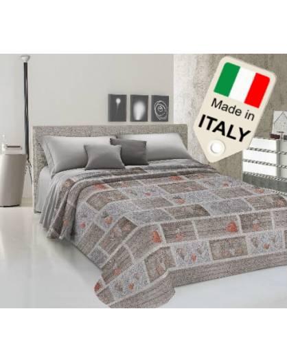 Copriletto cotone di piquet estivo primaverile shabbi con cuori prodotto Italia