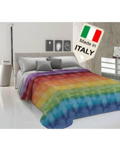Copriletto estivo primaverile degrade arcobaleno moda made Italy in cotone