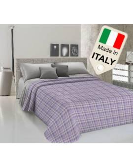 Copriletto disegno tipo scozzese estivo primaverile moda made Italy in cotone