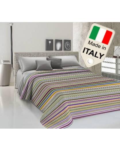 Copriletto disegno tipo rigato estivo primaverile moda made Italy in cotone