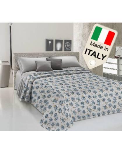 Copriletto disegno tipo con corallo primaverile moda made Italy in cotone