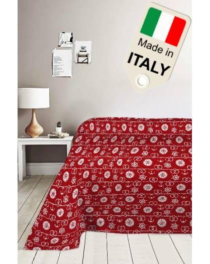 Copriletto cotone di piquet estivo primaverile disegno marinaro marino Italiano