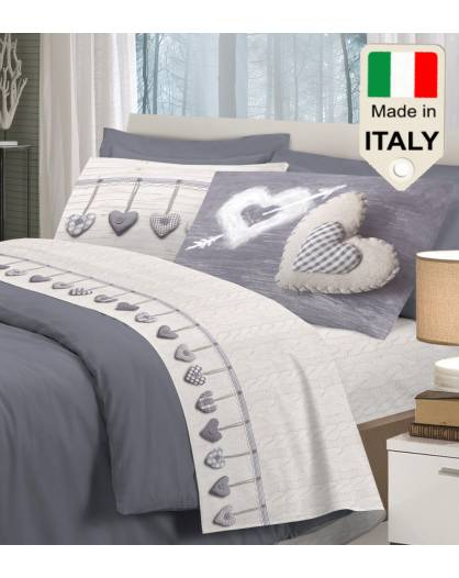 Completo lenzuola letto Made in Italy in cotone al 100% con cuori moda affare