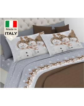 Completo lenzuola letto made in Italy con pupazzo di neve prodotto italiano