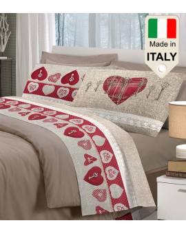 Completo lenzuolo matrimoniale singolo piazza mezza chiave cuori made in Italy