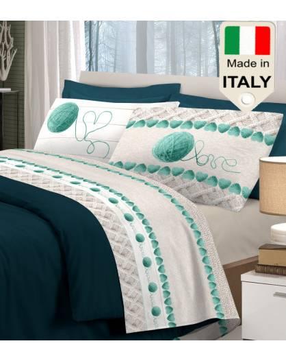 Lenzuola prodotto in Italia con stampa gomitolo lana manifattura italiana