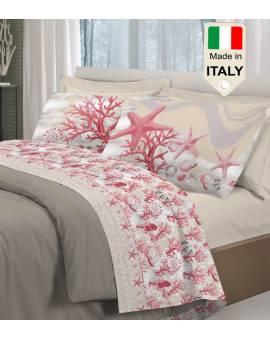 Completo lenzuola corallo fondo marino mare stampato made in Italy