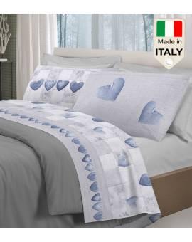 Completo lenzuola letto shabby e patchwork cuoricini fabbricato in Italia