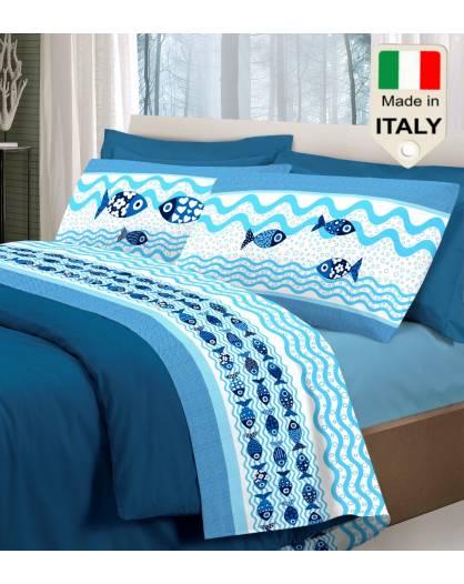 Completo lenzuola letto mare pesci pesciolini vacanze estive puro cotone