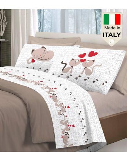 Completo lenzuola letto gattini micetti stile moda gatti in amore puro cotone