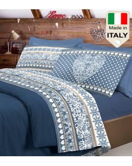 Completo lenzuolo letto shabby con cuore in stile tirolese tirolo made in Italy
