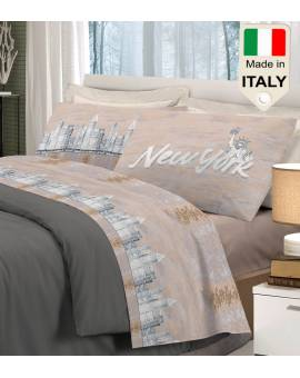 Completo lenzuolo letto New York big apple la grande mela made in Italy