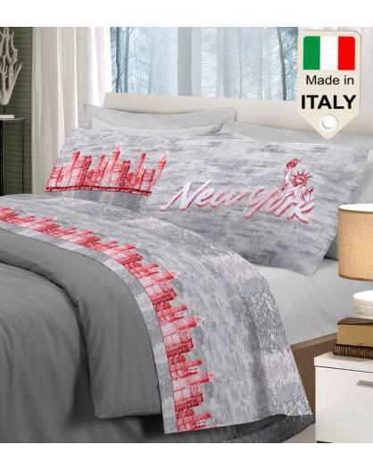 Completo lenzuolo letto New York big apple la grande mela made in Italy