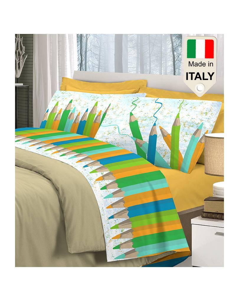 Completo Lenzuola Letto Made In Italy Stampati In Puro Cotone Al 100