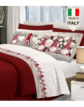 Completo lenzuolo letto con gnomi paesaggio invernale effetto natalizio