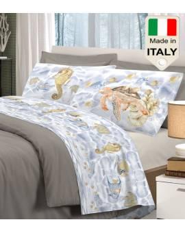 Completo lenzuola letto con cavalluccio marino tartaruga carapace fondo marino