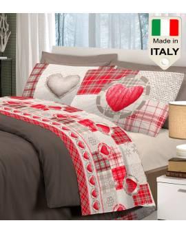 Completo lenzuola amore cuori cuoricini in stile tirolese prodotto in Italia