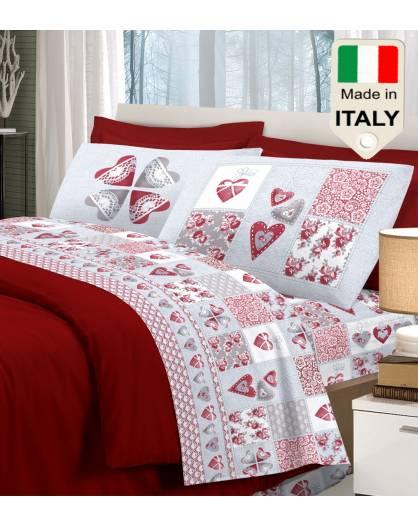 Completo lenzuola amore cuori cuoricini love stampato prodotto italiano