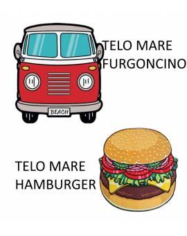 Telo Mare salviettone asciugamano Microfibra Hamburger Furgoncino